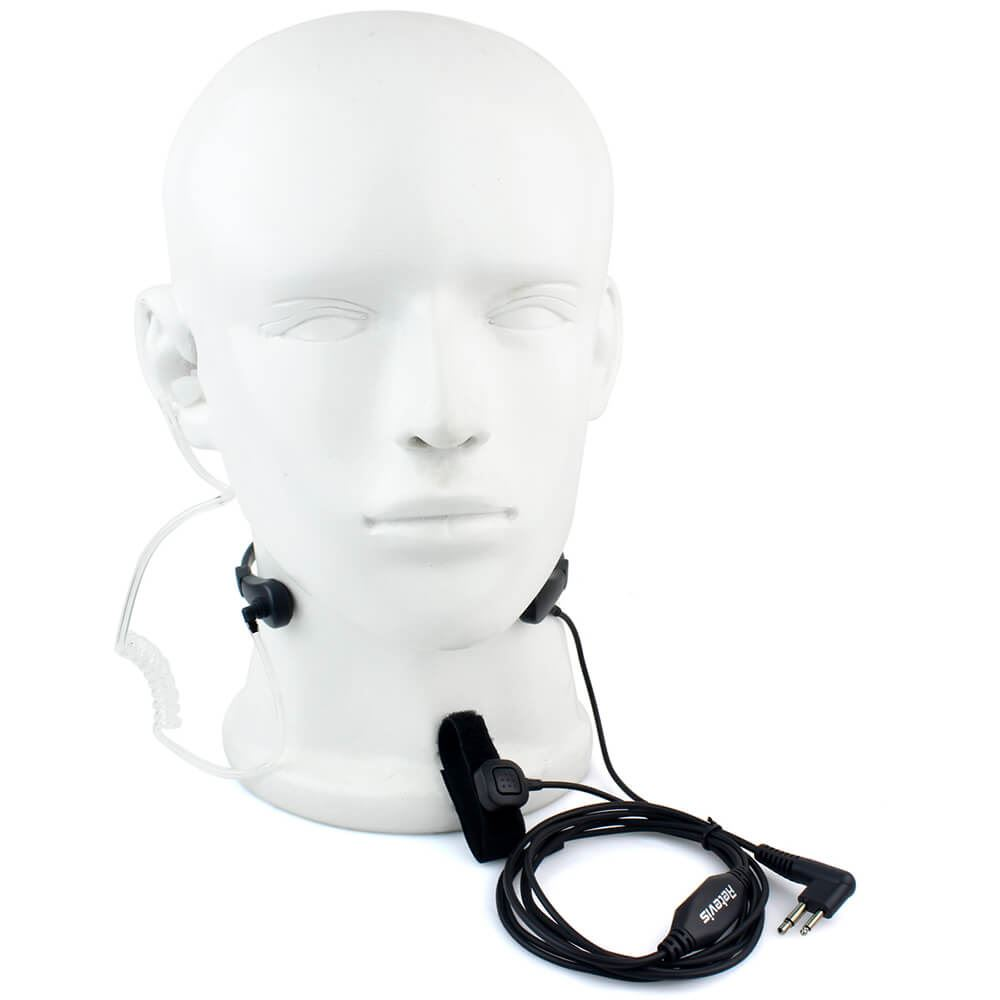 2 Pin PTT Throat MIC Covert Acoustic Tube Earpiece