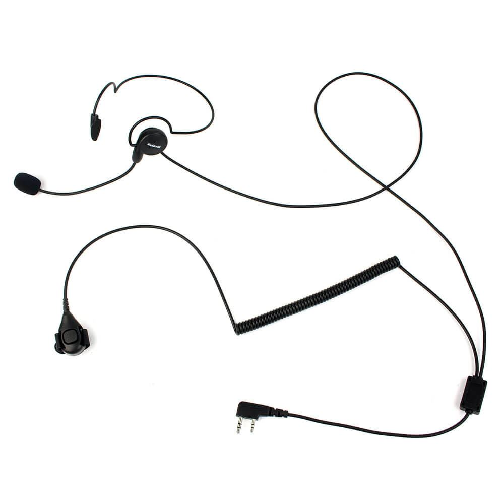 2 Pin Earpiece Mic Finger PTT Headset for Kenwood Retevis BAOFENG Radio