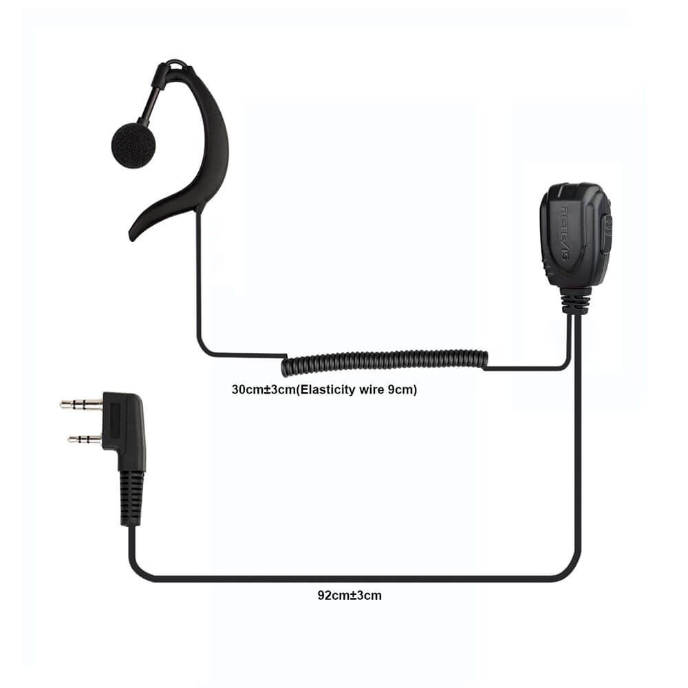 C earhook earpiece for Retevis RT23 Amateur Radio