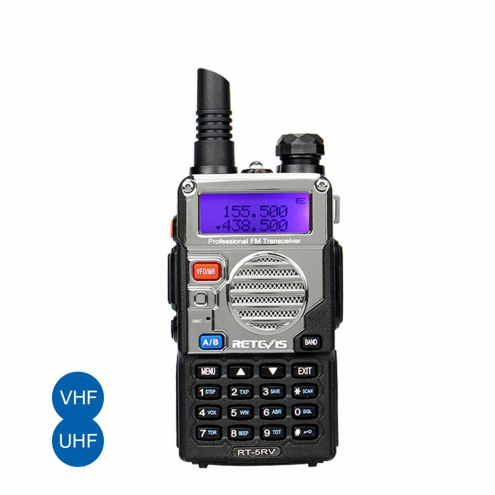 RT5RV Walkie Talkies UHF+VHF VOX 5W 128CH FM Two Way Radio
