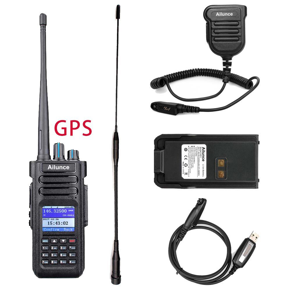 HD1GPS+IP55 Speaker Mic+Programming Cable+Long Antenna+Battery