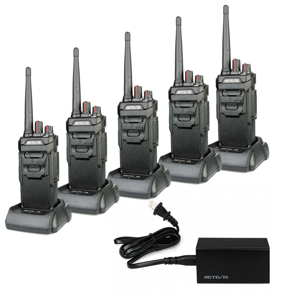 5 Port charger with 5 Waterproof IP67 License-free business Radio RT48