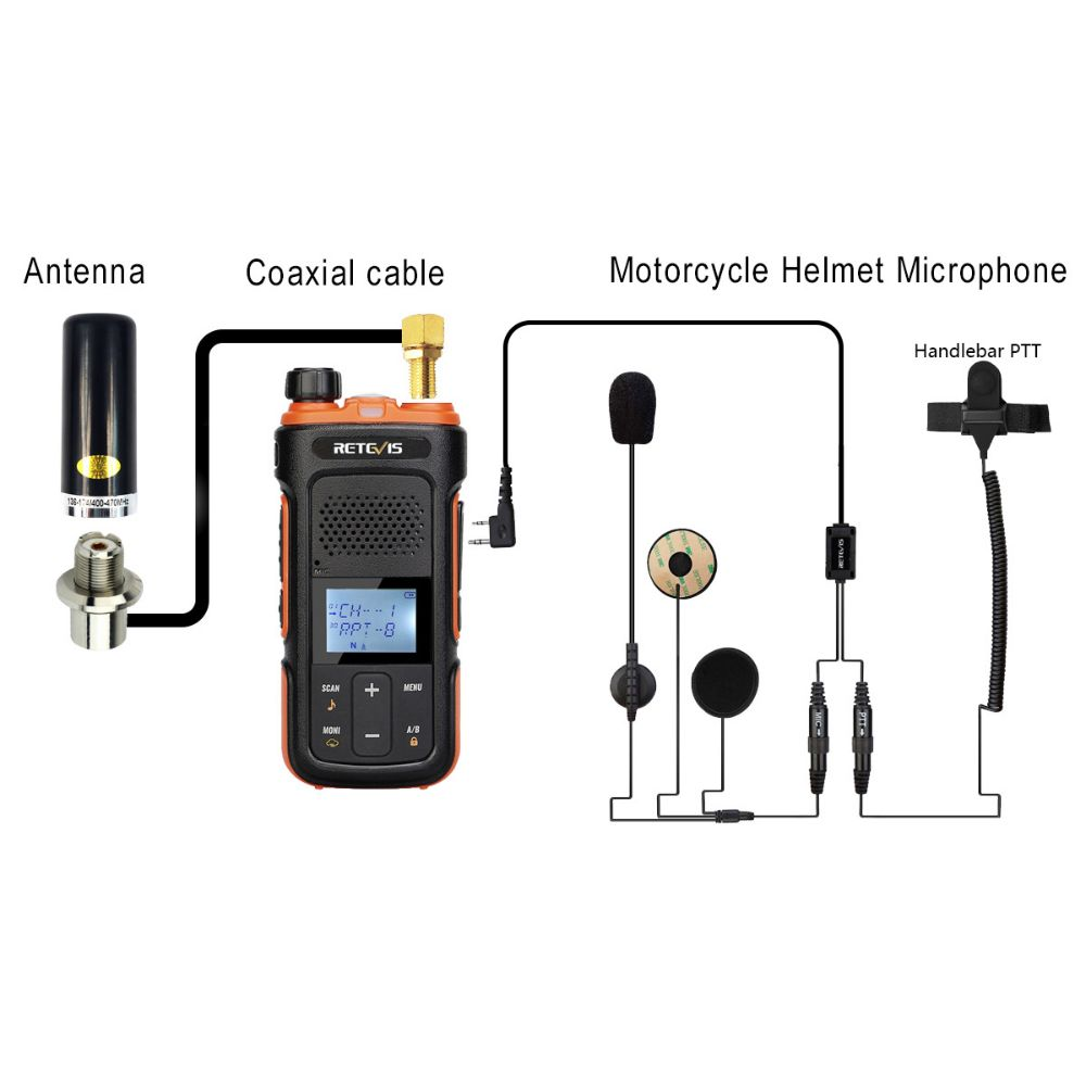 RMT01 Motorcycling Handheld Radio BUNDLE